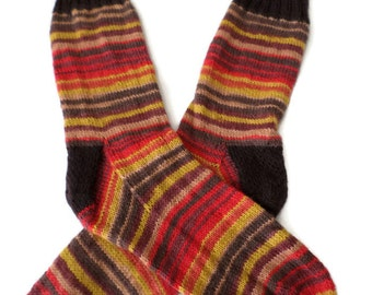 Socks - Hand Knit Men's Earthtone Socks - Size 10-11 - Casual Socks - Weekend Socks