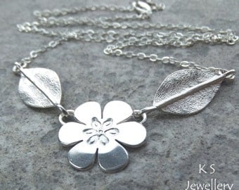 Six Petal Flower and Leaves Sterling Silver Necklace - Handmade Metalwork Jewelry Jewellery - Floral Themed