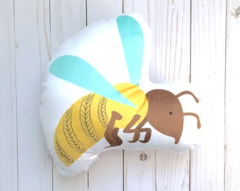Hornet Throw Pillow, Yellow Jacket Toy, Insect Cushion, Animal Pillow, Woodland Nursery Bedding, Kids Room Decor, Baby Gift, Stuffed Animal