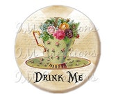 "30% OFF - Pocket Mirror, Magnet or Pinback Button - Wedding Favors, Party themes - 2.25""- Alice In Wonderland Tea Time MR269"