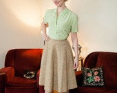 50% OFF SALE - 1950s Vintage Skirt - Stylish Tan, Cream and Orange Woven Tweed Wool Gored 50s Skirt with Boucle Fleck