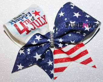 Beautiful American July 4th  Glitter Cheer Bow by FunBows !
