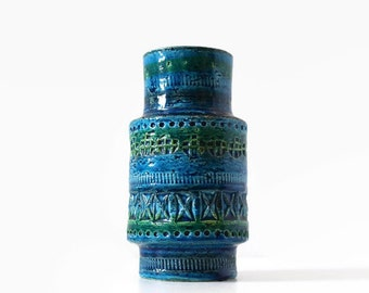 Bitossi Rimini Blu Vase, Aldo Londi Design, MCM Bitossi Vase, Bitossi Pottery Vase, Modernist Bitossi Vase, Bitossi Rimini Blue Pattern