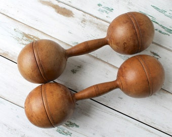 SALE - Large Antique Wooden Barbells, Wood Hand Weight Dumbbells, Vintage Sporting Goods, Gifts for Guys, Wood Weights, Rustic Modern Home