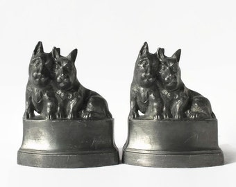 Nuart Creations Scottie Dog Terrier Bookends, Vintage Home Decor, Antique Bookends, Metal Dogs