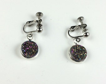 "1/2"" (12mm) Round Rainbow Druzy Drusy Dangly Clip On Earrings in Silver Setting Wedding Bridal"