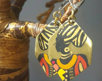 African jewelry, African earrings, Brass earrings, Hand painted earrings, Mother's day gift, Gift for mom, Mothers day gift, Gift for her