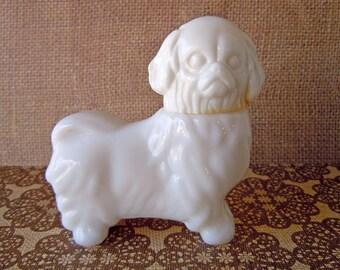Vintage 1970's White Milk Glass Pekingese Dog Avon Bottle Perfume Bottle Decanter Empty Topaz Cologne