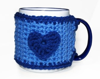 Blue Mug Cozy, Coffee Cup Cozy, Crocheted Coffee Cup Cozy, Tea Mug Cozy, Coffee Mug Wrap, Coffee Lover Gift, CHOICE of HEART