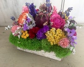 Small Handmade colorful dried flowers centerpiece in birch bark covered box. Made in ready to ship.