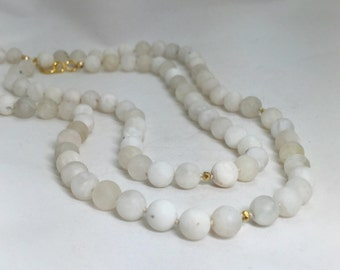 Matte Rainbow Moonstone and 18k Gold Filled Long Knotted Necklace