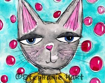 Cherry Kitty by Stephanie Hart, Archival print Watercolor Illustration 8x10, Cat Art