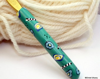 Polymer clay covered crochet hook, Susan Bates new size J10/6.00mm, handmade design, ready to ship