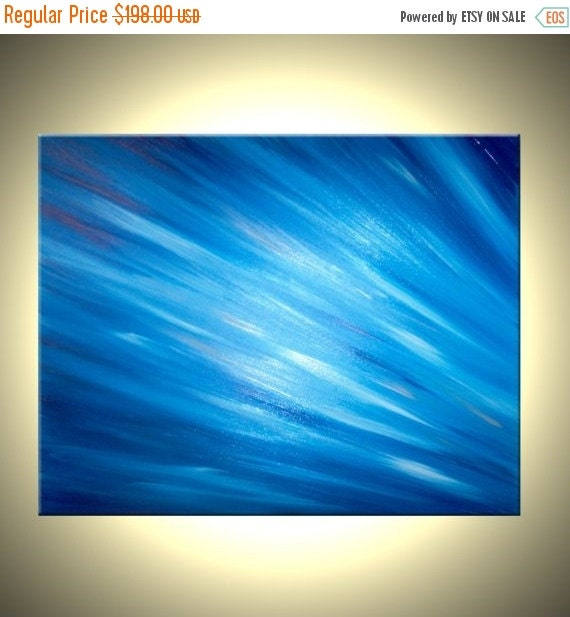Abstract Original Blue Media Painting by Lafferty Sale 22% Off