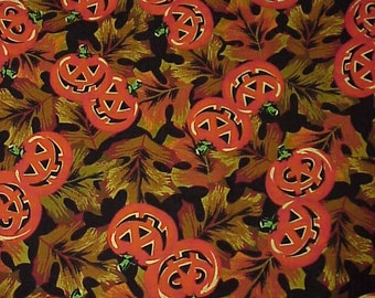 "Halloween FABRIC--3 Yards + 8""--Jack O' Lanterns & Fall Leaves--Jo-Ann Fabrics"
