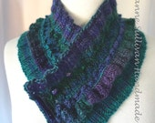 Hand Knitted Cowl Collar, Jewel Tone Cowl Collar, V Neck Cowl, Purple and Green Cowl, Woman's Cowl, Mini Scarf Cowl