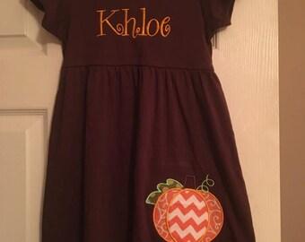 Brown Girls Monogrammed Pumpkin Dress #Fall, #Pumkin#monogram