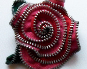 Pink and Red Floral Rose  Brooch / Zipper Pin by ZipPinning  2014