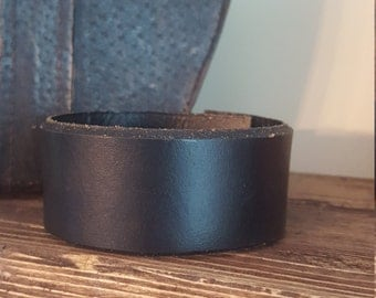 Ready for your CUSTOM Design-Up-Cycled BLACK Leather Cuff Bracelet -QUOTE