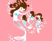 "8X10"" Mermaid Mother and Triplet Daughters giclee print on fine art paper. Warm pink, teal, dark brunette"