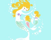 "8X10"" Mermaid Mother & Twin Girls giclee print on fine art paper. Light blue, teal green, purple, pink, blonde."