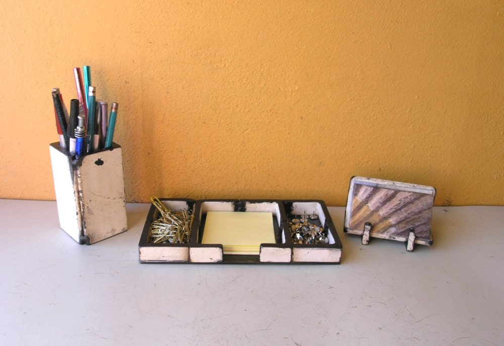 White desk organizer set square pencil pen cup catchall tray - Desk organizer white ...