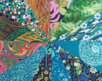 Liberty lawn JUNGLE charm pack - 12 Liberty of London Tana Lawn  Fabric 5 inch squares