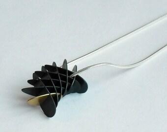 Geometric Torus Mini Segment Pendant - Black and Gold Finish - Sterling Silver