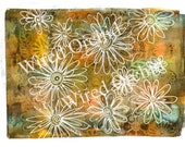 Laser Copy of Original Acrylic Artwork / Green, Orange, Yellow Floral Design