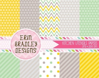 60% OFF SALE Yellow & Green Digital Paper Set Personal and Commercial Use Printable Papers Polka Dots and Stripes INSTANT Download