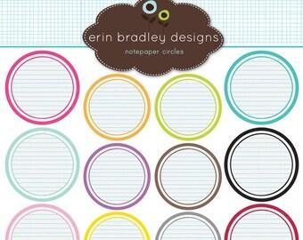 60% OFF SALE Notepaper Circles Clipart Clip Art Personal & Commercial Use Digital Scrapbooking