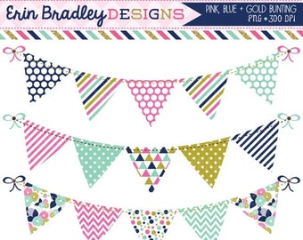 60% OFF SALE Pink Blue and Gold Bunting Clipart Set Personal & Commerical Use Digital Clip Art Graphics Banner Flags
