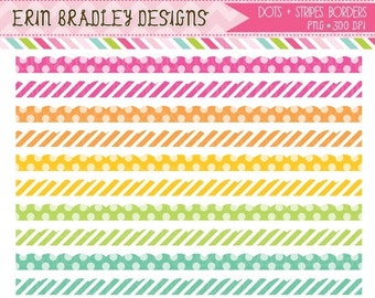 60% OFF SALE Colorful Dots & Stripes Clipart Borders Scalloped Clip Art Graphics Commercial Use