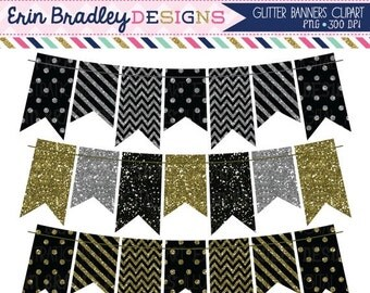 60% OFF SALE Glitter Bunting Clipart Set Black Gold and Silver Glitter Banners Clip Art Graphics Personal & Commercial Use