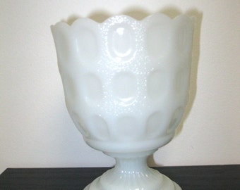Vintage E.O. Brody Co. M4200 White Thumbprint Milk Glass Footed Compote Vase