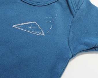 one-piece baby bodysuit screen printed inflight paper airplane