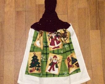 Winter Postcards Christmas Kitchen Towel - Snowflake Snowmen Santa Reindeer