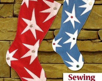 NEW | Funky Star Christmas Stocking Sewing Kit | Sewing kit | Do it yourself Tutorial | 2 sizes available - Ready to ship