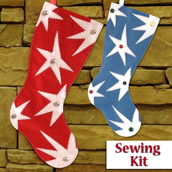 New funky star christmas stocking sewing kit sewing kit do new funky star christmas stocking sewing kit sewing kit do it yourself tutorial 2 sizes available ready to ship from tiffinydesigns on etsy studio solutioingenieria Images