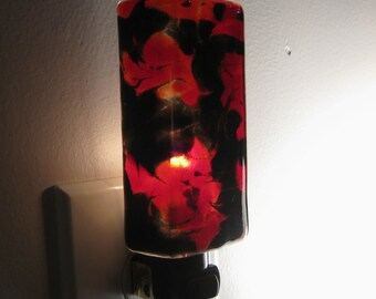 Night Light - Red and Black Cloudy Kitchen or Bathroom Night Light, Handmade, Home Decor, Lighting, Unique Gift Idea, Housewarming Gift