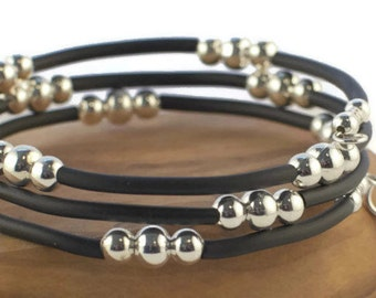 Wrap Bracelet with Rubber and Silver plate beads