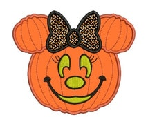 SALE 65% off Applique Minnie Mouse Pumpkin Jack o Lantern Machine Embroidery Designs 4X4 and 5X7 Included - Instant Download Sale