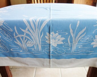 Blue Tablecloth, 1960s Blue Tablecloth, Lily Pad Tablecloth, Retro Tablecloth, 1960s Tablecloth