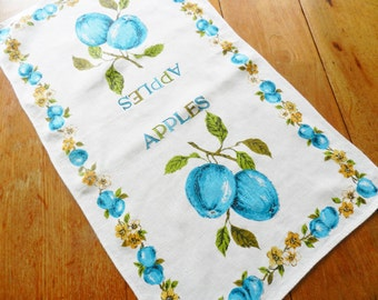 Apples Towel, Vintage Apples Towel, Turquoise Apple Towel, 1950-60s Kitchen Towel, Blue Apple Linen Print Towel, FREE Shipping with 2 Towels