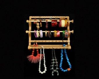 MEMORIAL DAY SALE Hanging Earring, 2 Bracelet Wands, and Necklace Holder Storage Organizer Display Oak