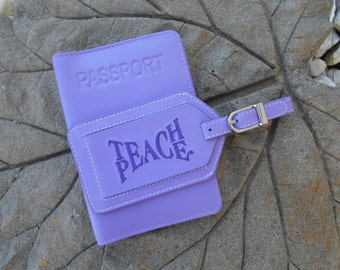 Leather Passport Cover and Luggage Tag in Amethyst