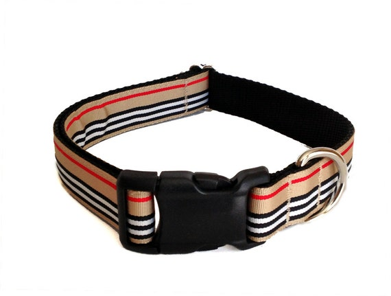 "Preppy Striped Dog Collar - Furberry Large Dog Collar 1"" Preppy Striped Leash"
