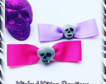 Skull Hair Bows Pink and Light Purple with Gray Glitter Skull Rockabilly Psychobilly Punk Horror Alternative Fashion Dia De Los Muertos
