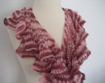 Hand knit neck scarf, pink shades, very soft, superb quality, rich, just in time for the season, knitted by Demet FREE SHIPPING in the US
