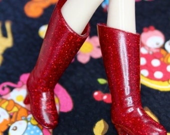 Blythe Red with glitter Heeled Doll Boots
